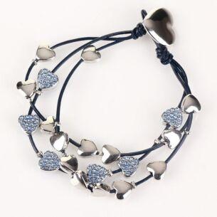 Equilibrium Blue Multi Hearts Leather Bracelet