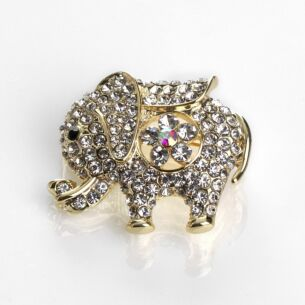 Equilibrium Gold Sparkle Elephant Brooch