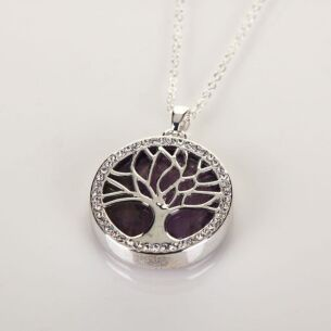 Silver Plated Amethyst Tree of Life Necklace