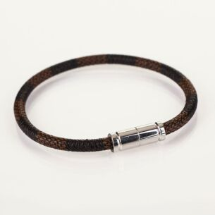 Equilibrium Men 2 Tone Modern Leather Brown Bracelet