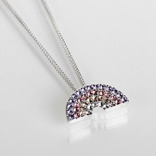Silver Plated Colourful Pastel Rainbow Diamante Necklace