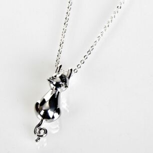 Silver Plated Hanging Cat Necklace