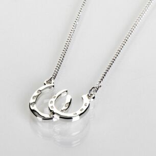 Silver Plated Country Horseshoes Necklace