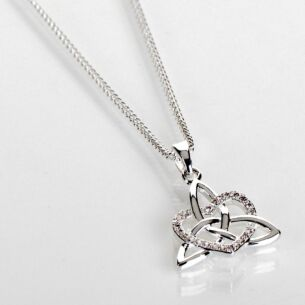 Silver Plated Celtic Knot Diamante Heart Necklace