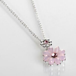 Silver Plated Pink Boho Chic Flower Necklace