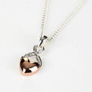 Two Tone Rose Gold Heart and Silver Kiss Necklace