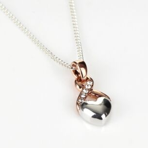 Two Tone Silver Heart and Rose Gold Kiss Necklace