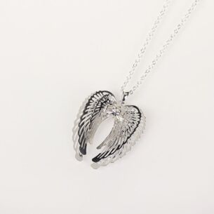 Clear 3D Guardian Angel Wings Necklace