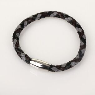 Men Three Tone Plait Leather Bracelet Grey Brown Black