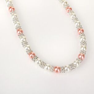 Silver Plated Pink Pearl Lace Necklace