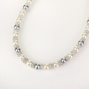 Silver Plated Pearl Lace Necklace