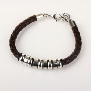 Men's 9 Ring Stainless Steel Brown Leather Bracelet