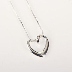 Clear Diamante Heart Necklace