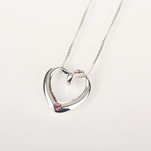 Pink Diamante Heart Necklace