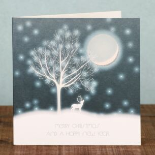 Tree and Moon Scene - Box of 6 Christmas Cards