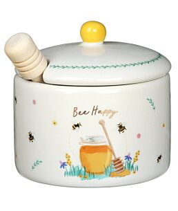 Beekeeper 'Bee Happy' Honey Pot & Wooden Dizzler