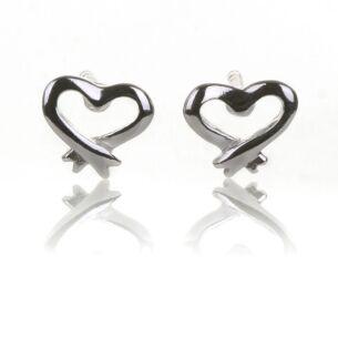 Silver Open Heart Stud Earrings