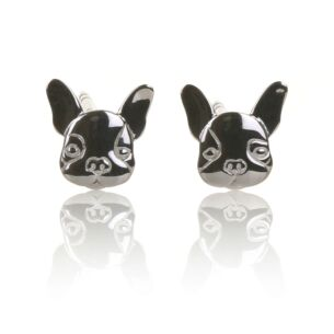 Elements Silver French Bulldog Stud Earrings