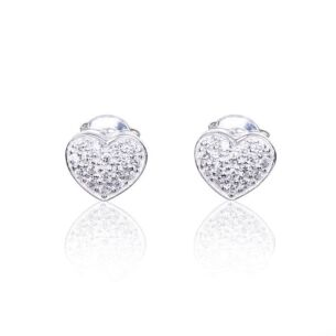 Clear Cubic Zirconia Heart Silver Stud Boxed Earrings