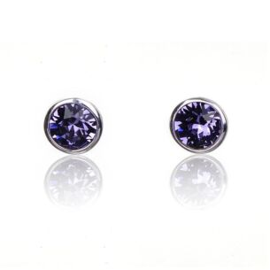 Tanzanite Violet Crystal Boxed Silver Stud Earrings