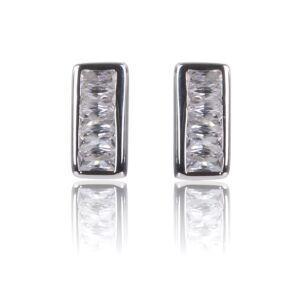 Clear CZ Channel Set Stud Earrings