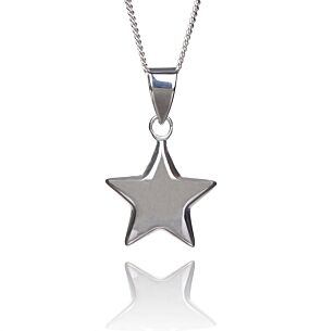 Small Puffed Star Boxed Silver Pendant