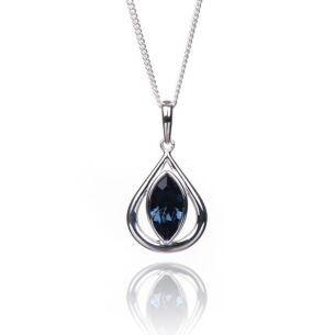 Montana Crystal Teardrop Boxed Silver Pendant