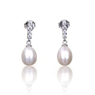 White Fresh Water Pearl Drop Boxed Silver Earrings