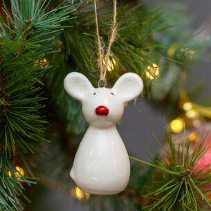 Ceramic Mouse Christmas Tree Decoration