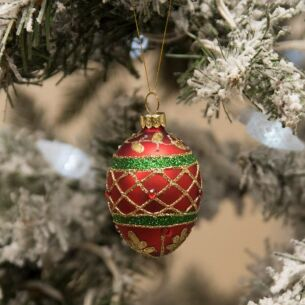 Assorted Red/Green/Gold Glass Egg Tree Decoration