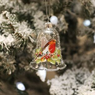 Glass Bell with Robin Tree Decoration