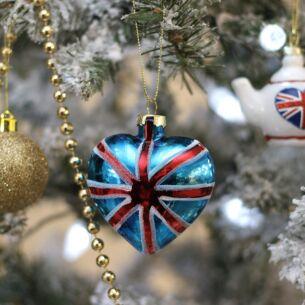 Union Jack Glass Glitter Tree Decoration