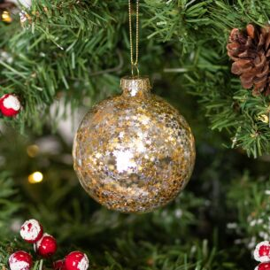 Clear Glass Bauble with Gold and Silver Stars