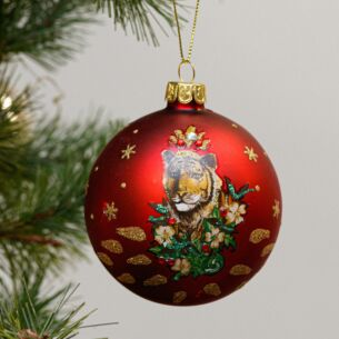 Matte Red Glass Bauble with Tiger