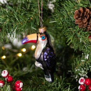 Painted Glass Toucan Tree Decoration
