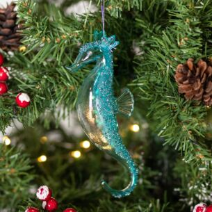 Clear Blue Glass Seahorse Tree Decoration