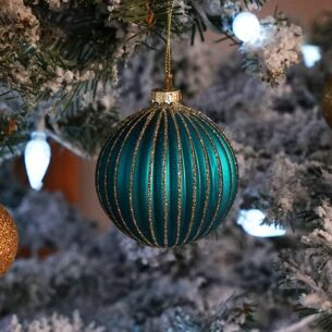 Turquoise Ribbed Glass Bauble with Gold Glitter Stripes
