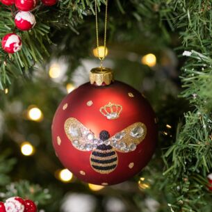 Matte Red Glass Bauble with Bumblebee