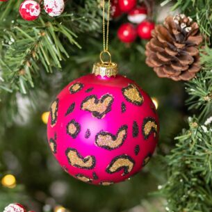 Pink Leopard Print Glass Bauble