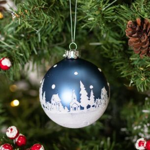 Matte Blue with White Snow Scene Glass Bauble