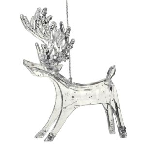 Clear Acrylic Reindeer Decoration with Silver Glitter