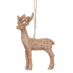 Copper Glitter Resin Reindeer Tree Decoration