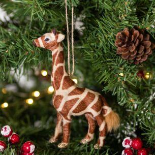 Faux Fur Giraffe Tree Decoration