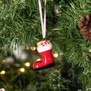Ceramic Santa's Boot Tree Decoration
