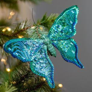 Sequin Peacock Butterfly Tree Decoration