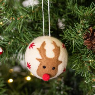 Wool Reindeer Head Bauble