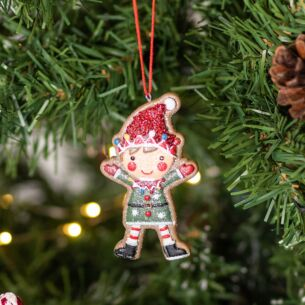 Assorted Resin Gingerbread Elf Tree Decoration