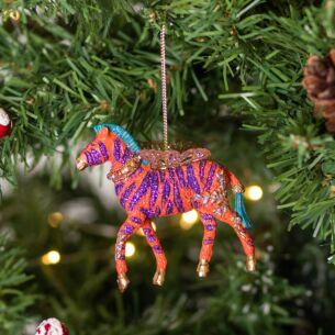 Assorted Fantasy Zebra Resin Tree Decoration