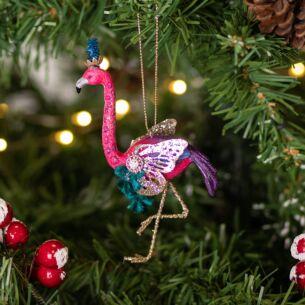 Assorted Fantasy Flamingo Resin Tree Decoration