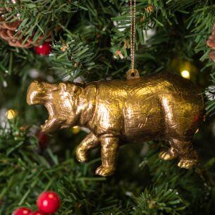 Gold Acrylic Hippo Tree Decoration